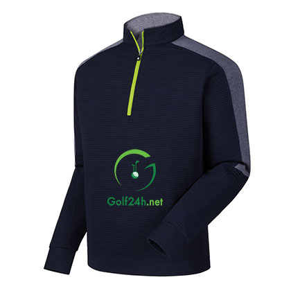 Áo gôn FJ Rib FZ Midlayer w/ Sleeve Stripe Navy & Heather Navy w/ Lime (95238)