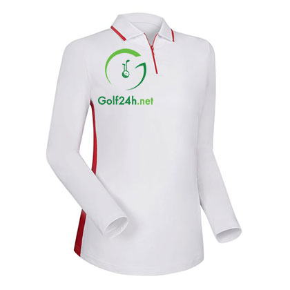 Áo gôn FJ LS Zip Placket Sun Protection Shirt with Mesh Side Panels White w. Red (95243)